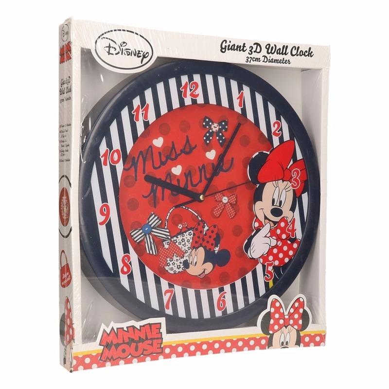 Minnie Mouse rode wandklok 3D