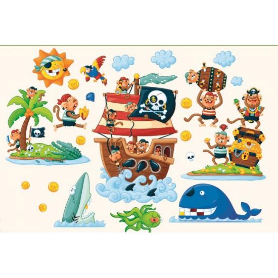 Muur deco stickers pirateneiland 22 cm