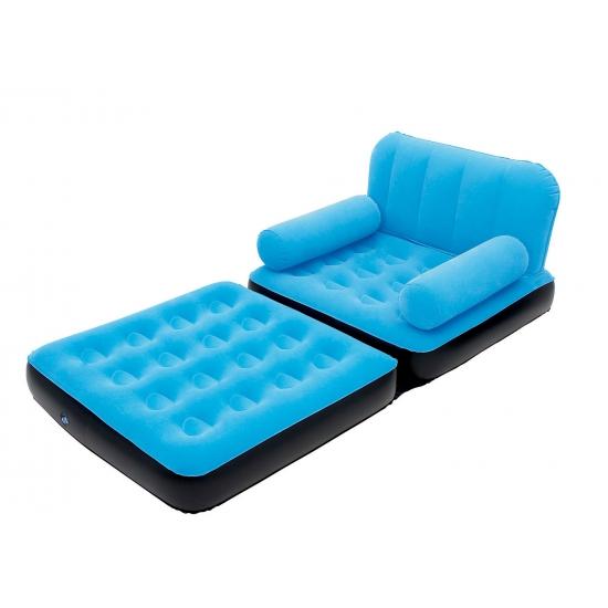 Opblaasbare blauwe sofa met leuning