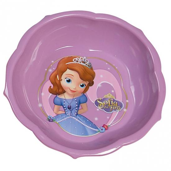 Paarse Prinses Sofia schaaltjes van plastic 16 cm
