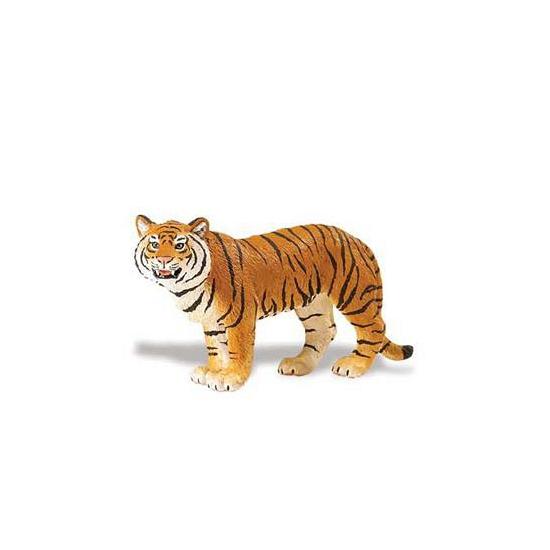 Plastic Bengaalse tijger bruin speelgoed dier 14 cm