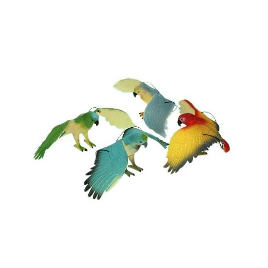 Plastic blauw met witte papegaai 33 cm
