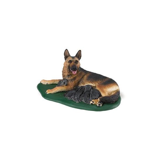 Plastic Duitse Herder met puppies speelfiguur 10 cm