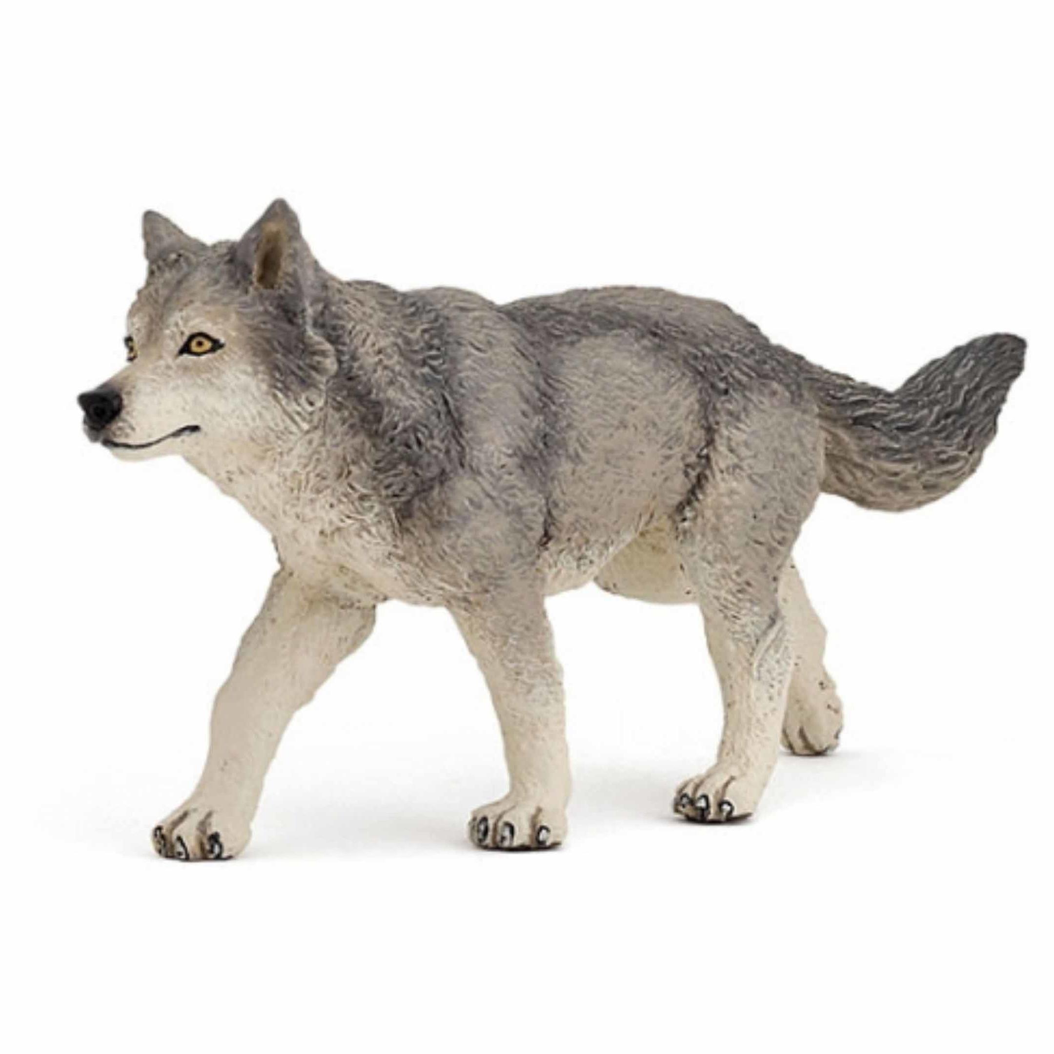 Plastic grijze wolf 3 cm
