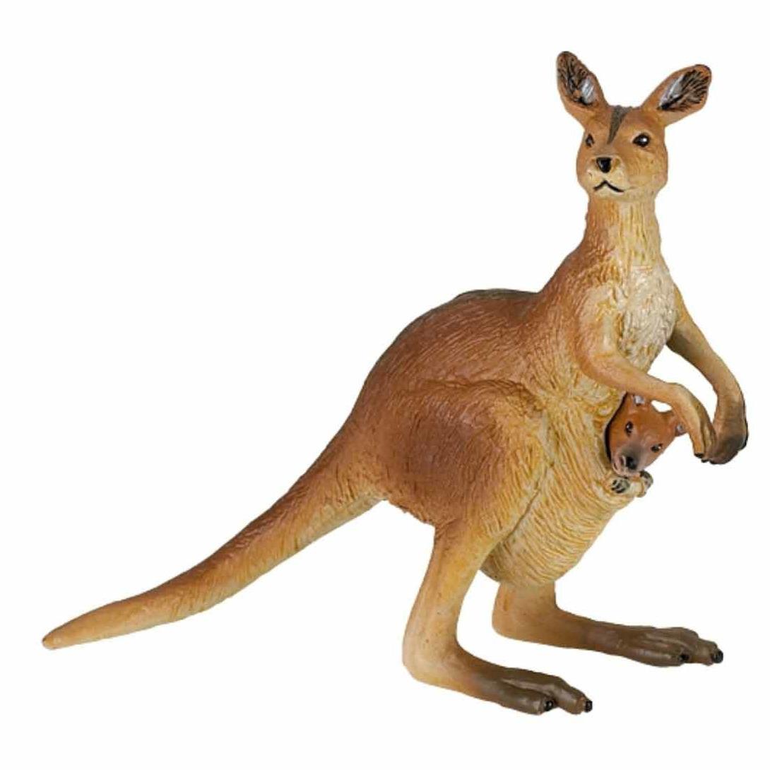 Plastic kangoeroe met baby 8 cm