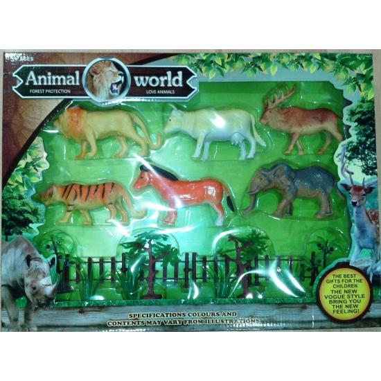 Plastic safaridieren kado pakket 6 stuks