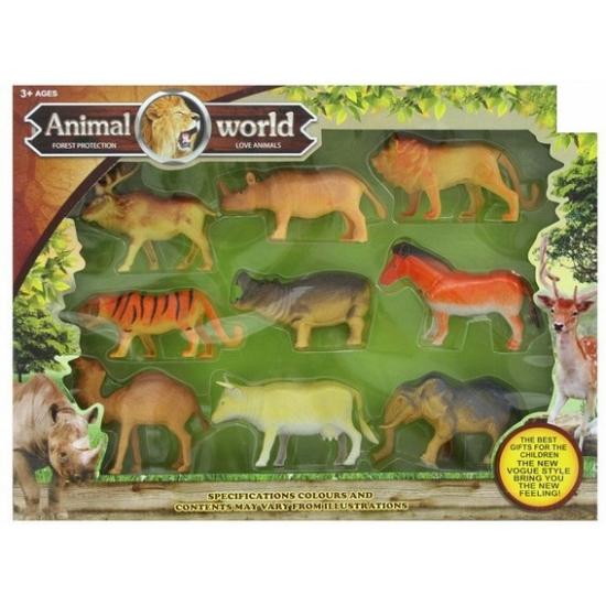 Plastic safaridieren kado pakket 9 stuks