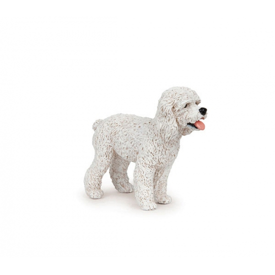 Plastic witte poedel 6 cm