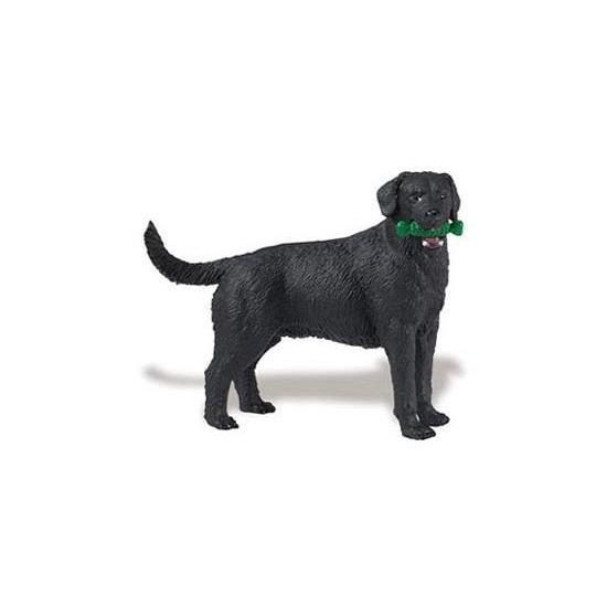 Plastic zwarte Labrador hond speelfiguur 9 cm