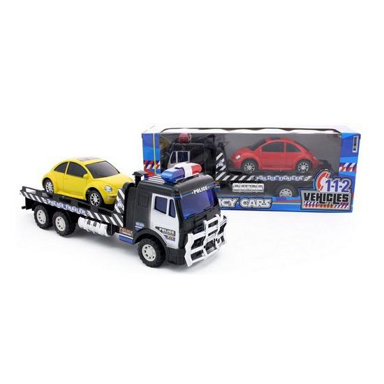 Politie truck met rode auto