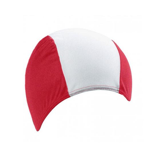 Polyester badmuts rood/wit voor volwassenen