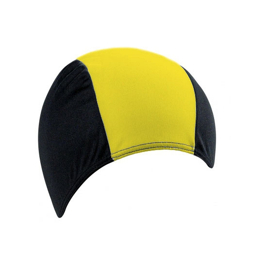 Polyester badmuts zwart geel voor volwassenen