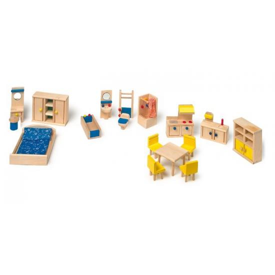Poppenhuis meubel 18 stuks
