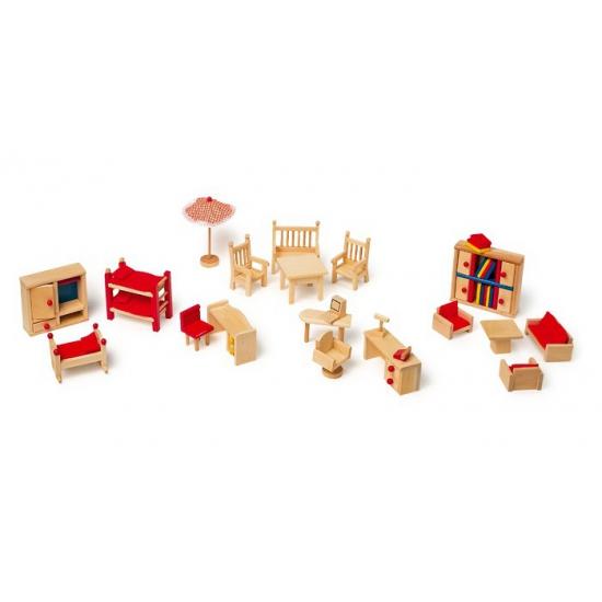 Poppenhuis meubels met tuin 22 stuks