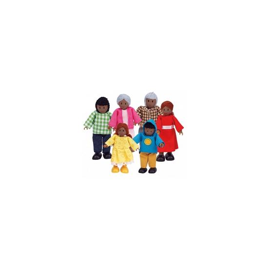 Poppenhuis poppetjes afro amerikaanse familie 6 delig