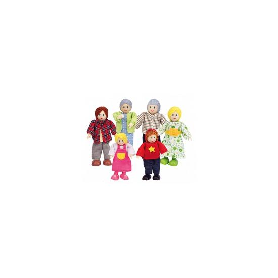 Poppenhuis poppetjes blanke familie 6 delig