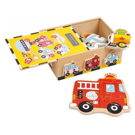 Puzzel box voertuigen 6 stuks
