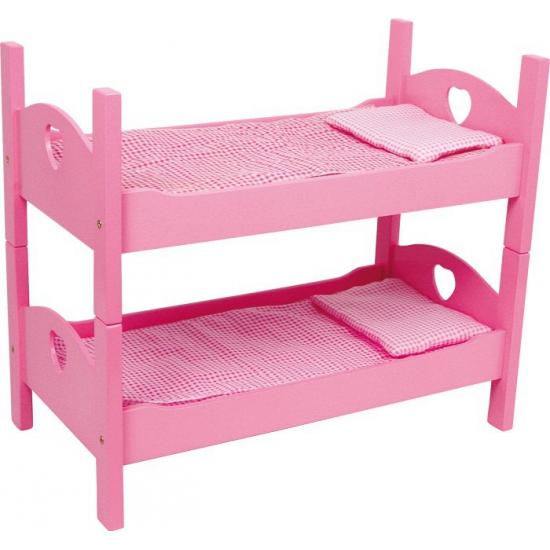 Roze compleet stapelbed voor poppen 63 cm