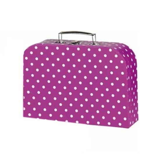 Roze koffer met stippen 30 cm