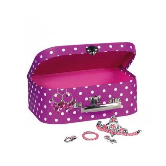 Roze meisjes sieraden koffer 25 cm