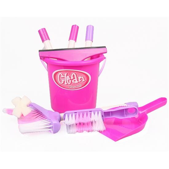 Roze speelgoed schoonmaak setje