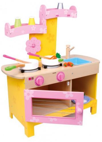Roze speelkeuken met uitneembare wasbak