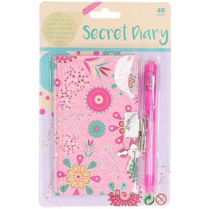 Roze uil dagboek met slot
