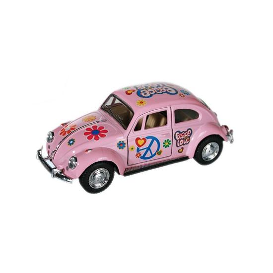 Roze VW kever modelauto 12,5 cm