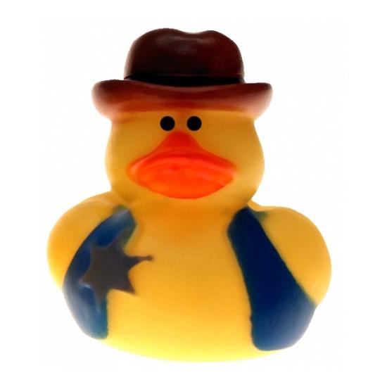 Rubberen cowboy badeendje met badge