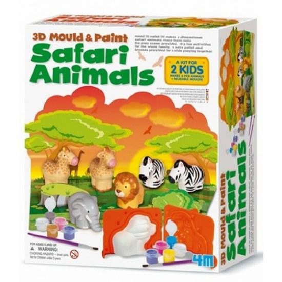 Safari dieren gips set met verf