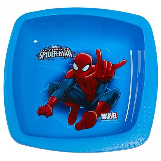 Schaaltje blauw met plaatjes van Spiderman 16 cm
