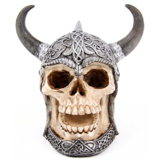 Schedel spaarpotten met Keltische helm