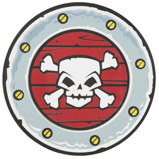 Schild met doodshoofd piraten