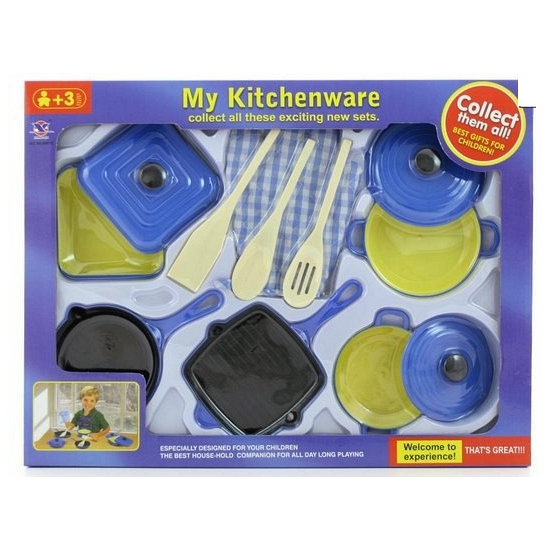 Setje plastic pannetjes met lepen en ovenwant