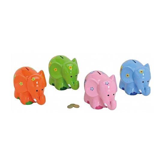 Spaarpot gekleurde olifant 20 cm