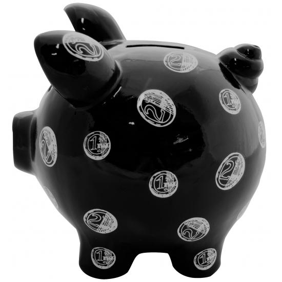 Spaarpot spaarvaken Muntgeld Print zwart 20 cm