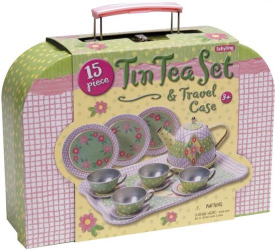 Speegoed theeset groen met roze geruit