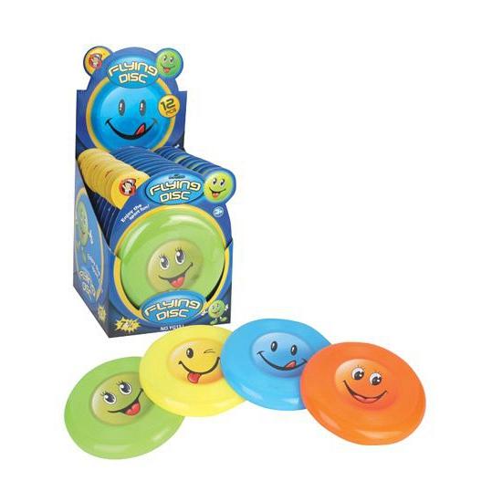 Speel frisbee met smiley face