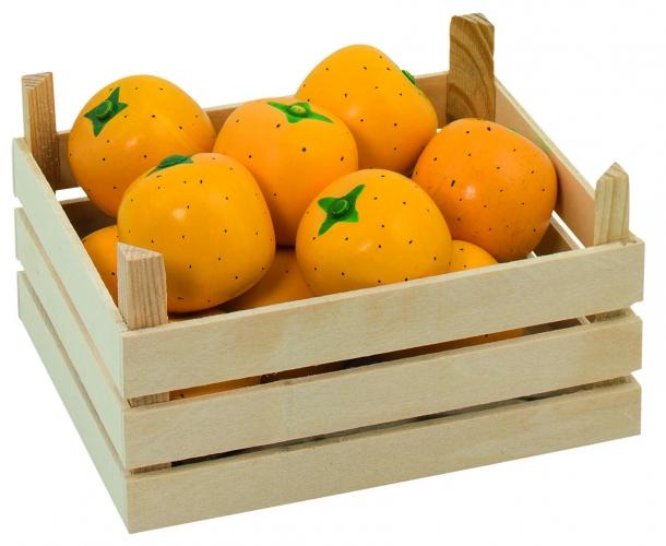 Speel sinaasappels in kist