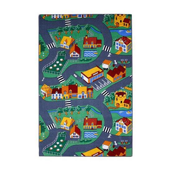 Speel tapijt dorp met wegen 100 x 165 cm