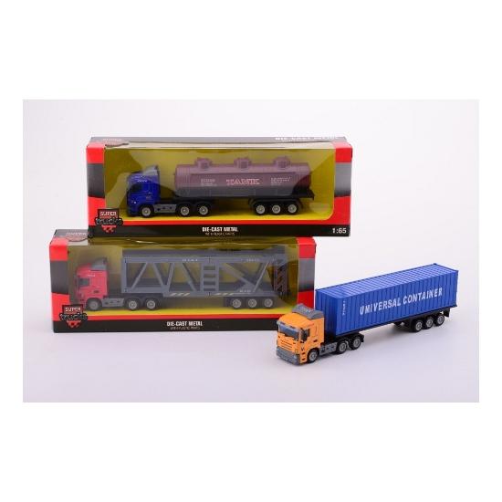 Speel vrachtwagen met container oplegger