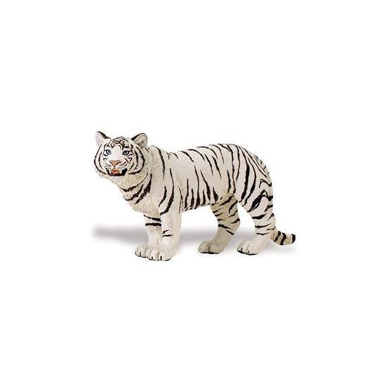 Speeldier Bengaalse tijgerin wit van plastic 14 cm