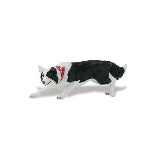 Speeldier Border Collie hond van plastic 12 cm