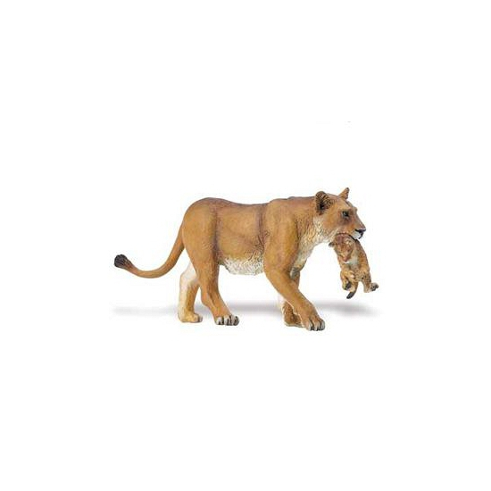 Speeldier leeuwin met welp van plastic 16 cm