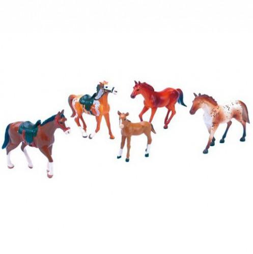 Speelgoed dieren plastic paarden 5 stuks