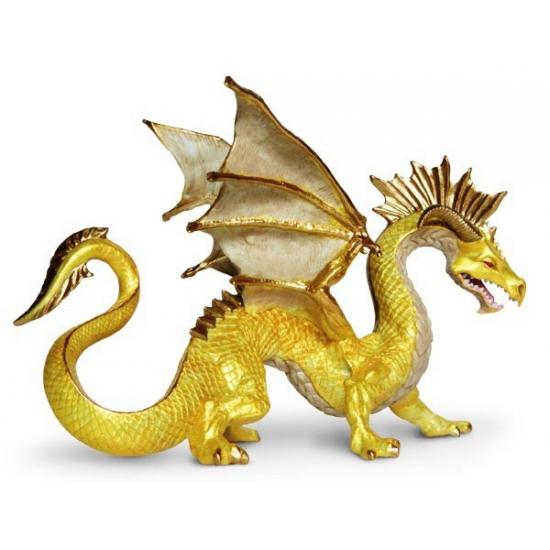 Speelgoed draak goud 17 cm