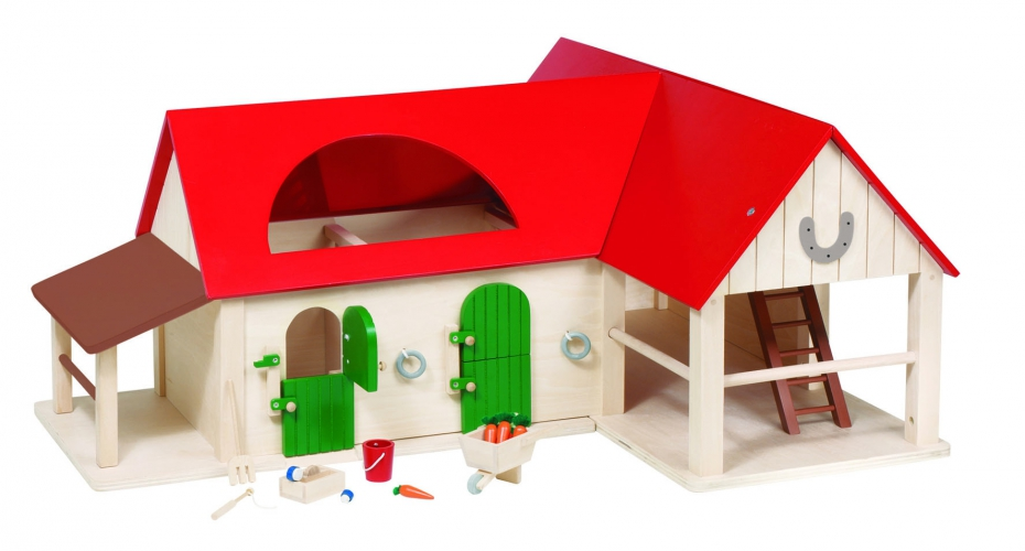 Speelgoed paardenstal van hout