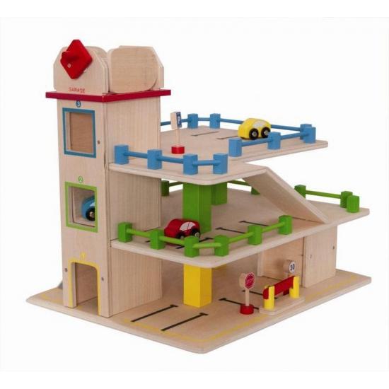 Speelgoed parkeergarage van hout