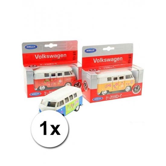 Speelgoed Volkswagen blauwe hippiebus 15 cm