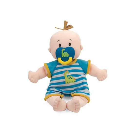 Stoffen pop baby jongen met blauw wit gestreept pakje